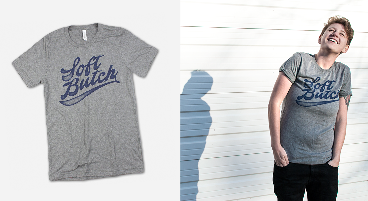 Sarah is wearing the Soft Butch tee in small.