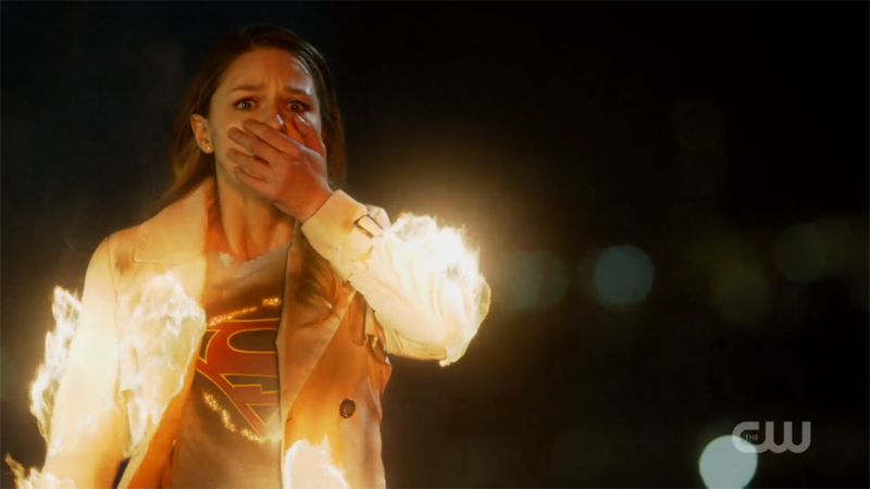 Kara is in flames but still somehow looks more upset for someone else