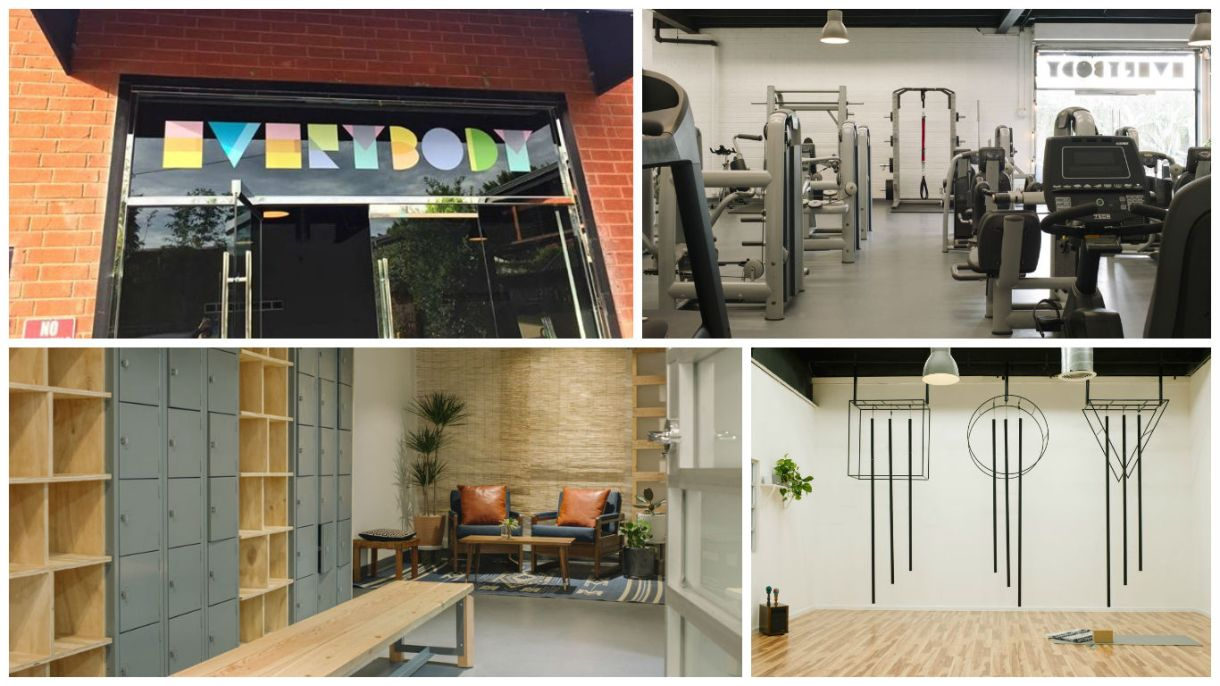 A collage of four photos. On the top left, a glass door with the word EVERYBODY over it in multicolored block letters; top right, a room full of weight machines; bottom right, a yoga studio; and bottom left, a locker room with a wooden bench and leather chairs to sit on.