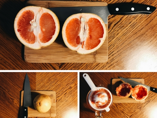 a tryptic of photos that demonstrates slicing a grapefruit longways and juicing it
