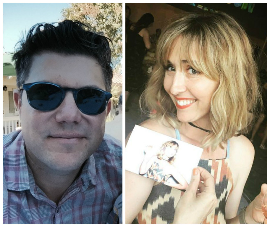 Two photos side by side. On the left, a white man with short dark hair and sunglasses smiles into the camera; on the right, a blonde white woman holding a photograph of herself from a fancy party smiles into the camera.