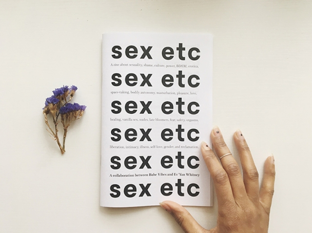 "cover of sex etc zine, repeating ""sex etc"" in block black typography on a white background"