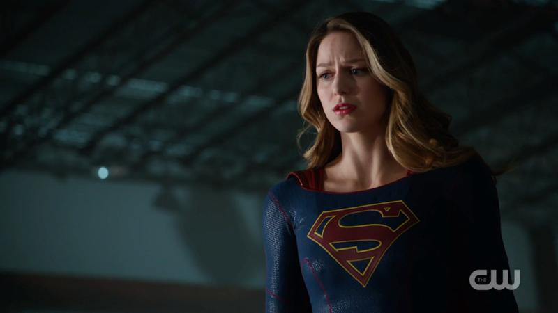 Supergirl looks sadly upon Lena