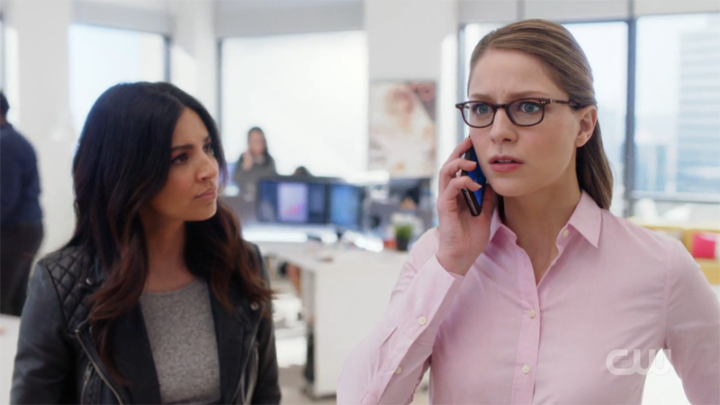 Kara's on the phone, maggie watches, concerned