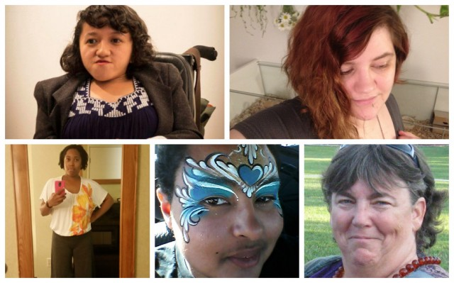 Photos of five disabled queer people, of various ages, genders and races, arranged in two rows.