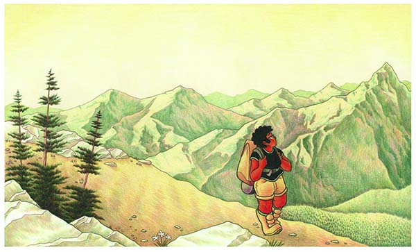 comic drawing from ATCF of a queer poc in the mountains