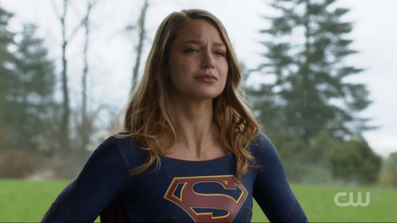 Kara cries, standing tall