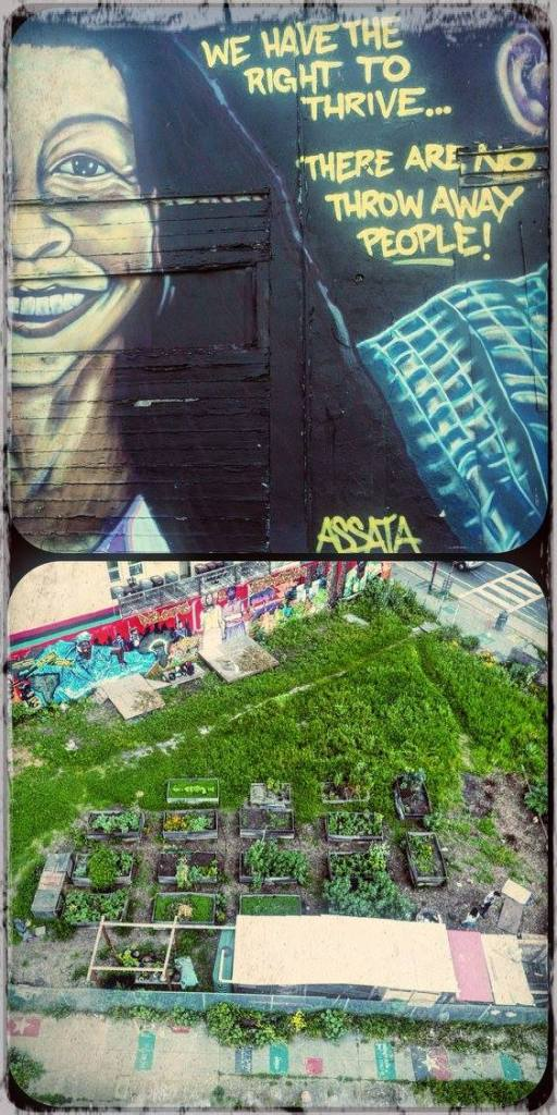 """Two photos, one of an outdoor mural featuring a smiling face and the words """"We have the right to thrive... there are no throw away people!"""" and one photo of a community garden"""