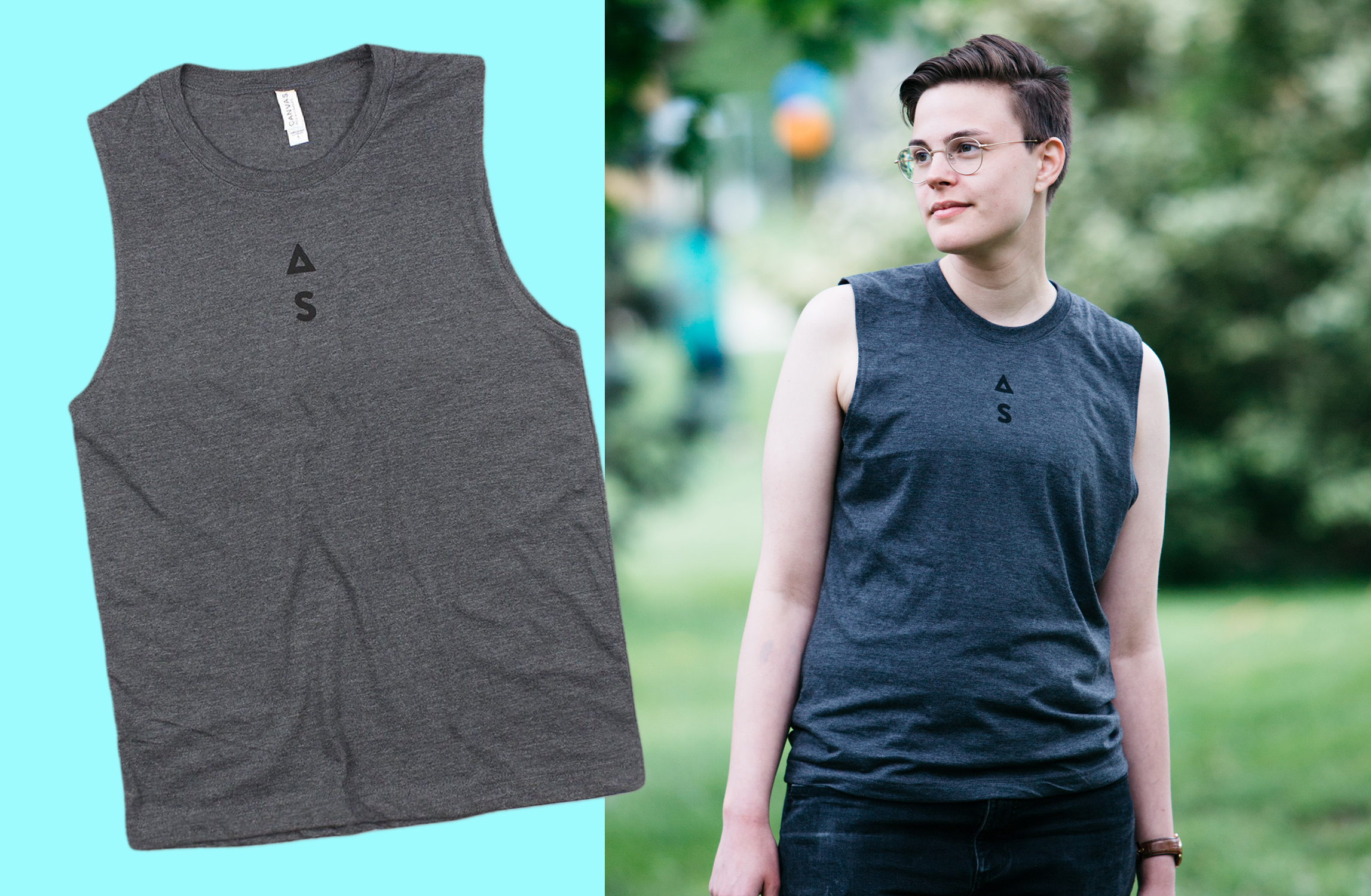 Left: Grey Unisex Muscle Tank with Autostraddle logo screen printed top-center, just below neckline. / Al wearing Autostraddle tank.