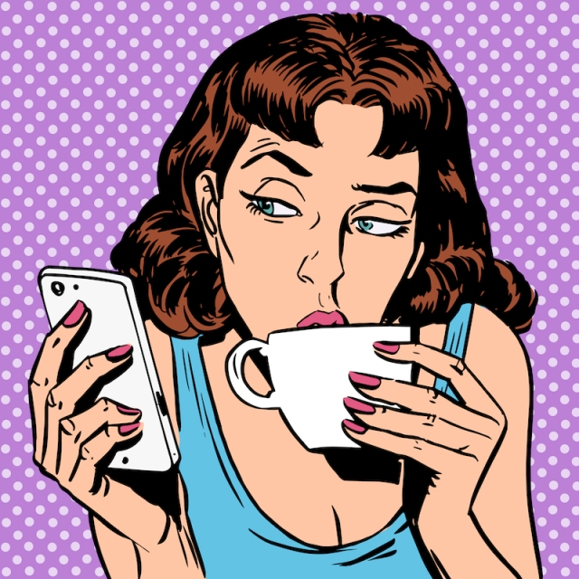 Pop art of woman taking a sip of coffee and looking at a smartphone with an eyebrow raised