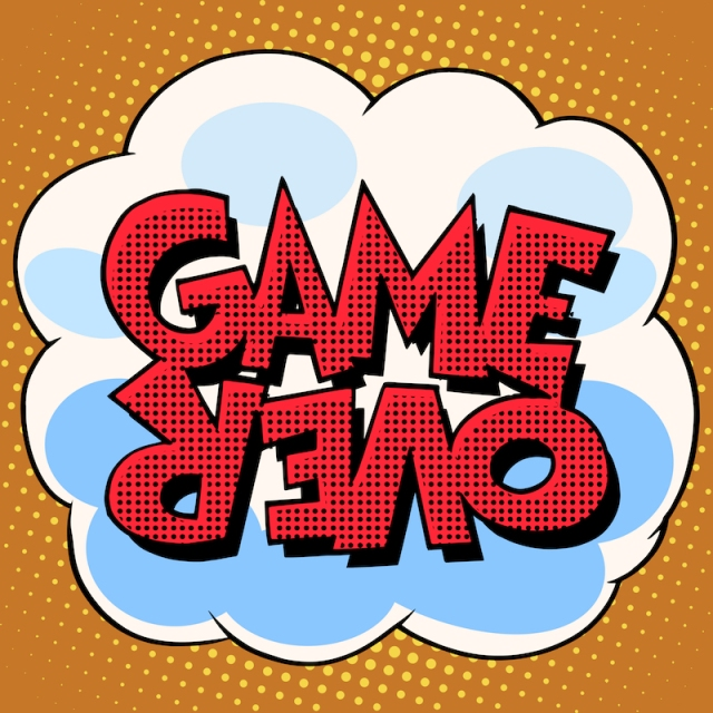"""Pop text that reads """"game over"""""""