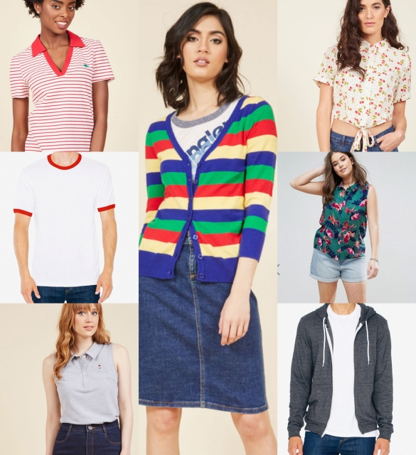 a bunch of camp shirts: a polo, a white tee, some button ups, a striped cardigan, and a hoodie