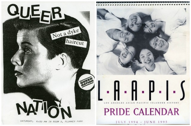 "Two pieces of '90s activist ephemera side by side. On the left, a zine-style poster of a woman in profile with short brown hair. The text over her face reads ""Queer Nation"" and ""Not a dyke haircut."" On the right, the cover of the Los Angeles Asian Pacific Islander Sisters Pride Calendar from 1994/95."
