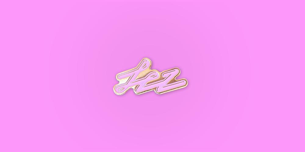 Lez Enamel Pin / Metal: Gold / Colors: Baby Pink