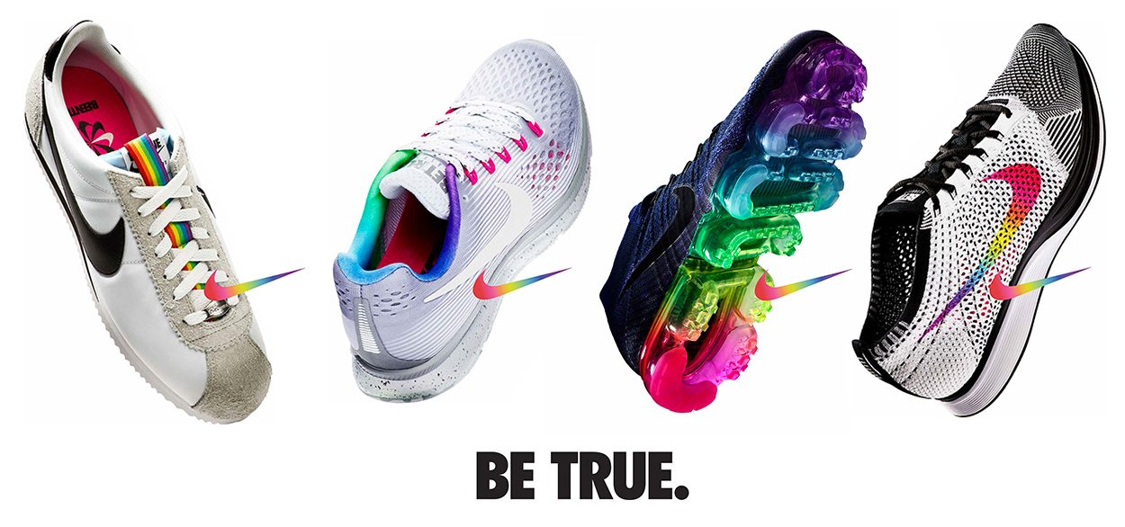 "757be437a107 Apparently Nike s journey into LGBT allyship began with a few employees   ""grassroots effort"" in 2012 to introduce some Pride-inspired designs into  the ..."