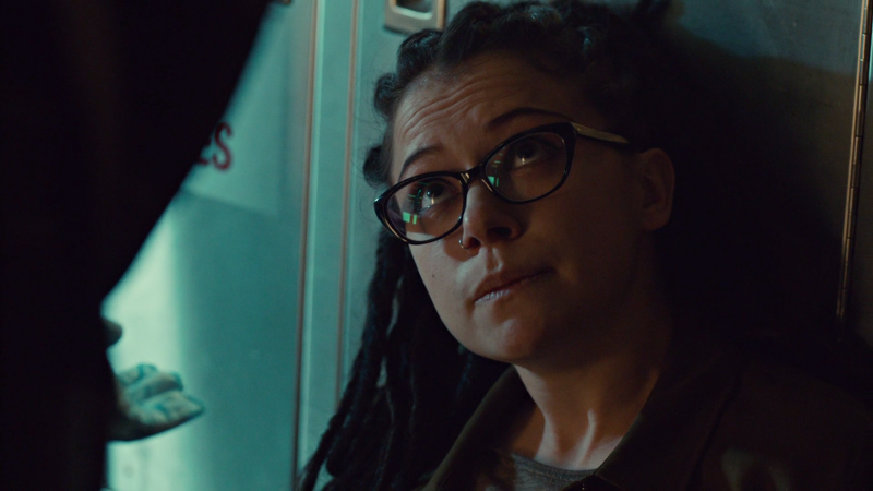 Cosima looks doubtingly up at Rachel