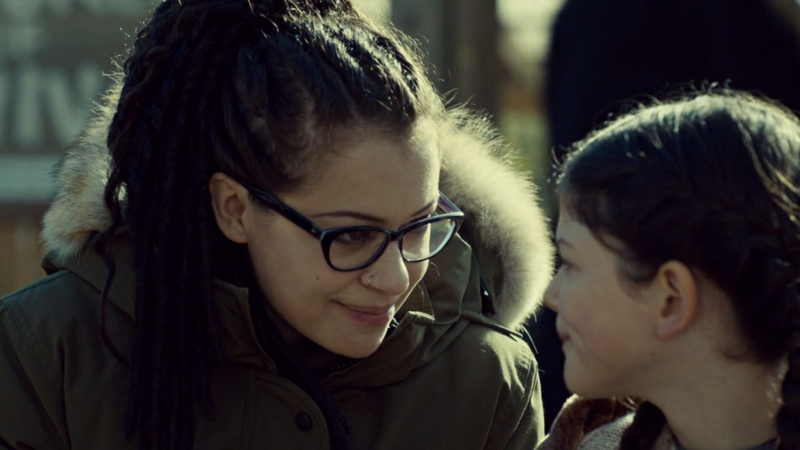Cosima and Charlotte smile at each other like the cutie patooties they are