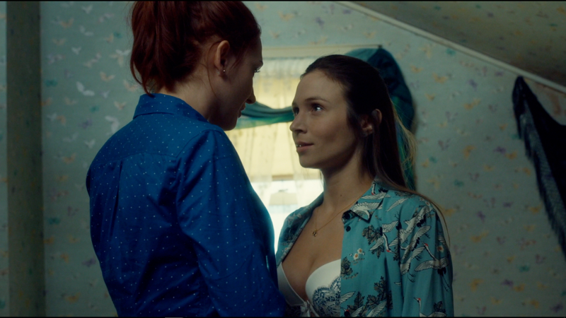 Waverly's shirt is open and she's saying yes yes yes with her words and her eyes