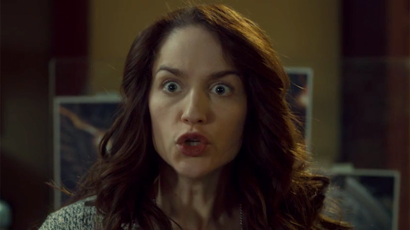Wynonna is making a wildly excited face