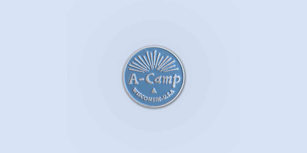 A-Camp Enamel Pin / Metal: Antique Silver / Enamel Colors : Cornflower Blue