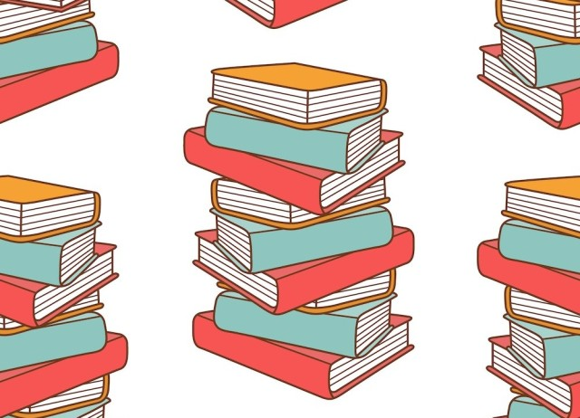 vector illustration of stack of books in red, blue, and yellow on a white background