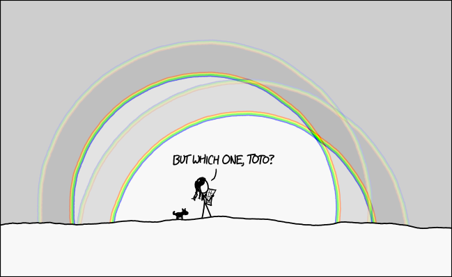 "A stick figure Dorothy standing under four overlapping rainbows with a dog. Dialog box says ""But which one, Toto?"""