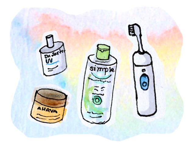 watercolor drawing of various skincare items