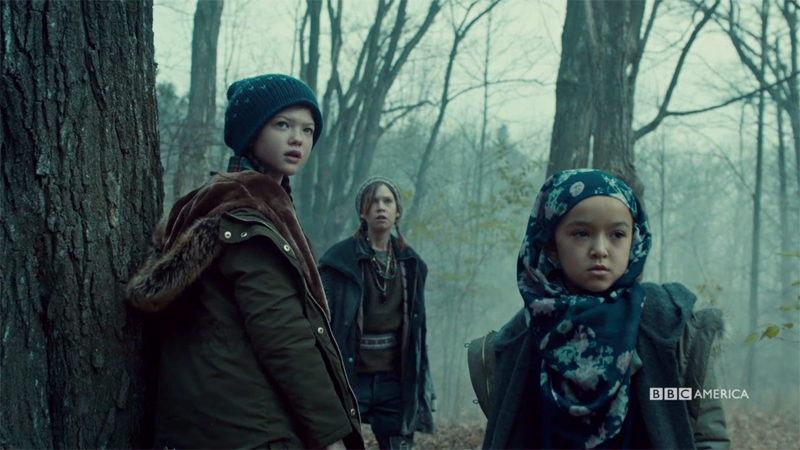 Charlotte, Aisha and Mud hear a noise in the woods