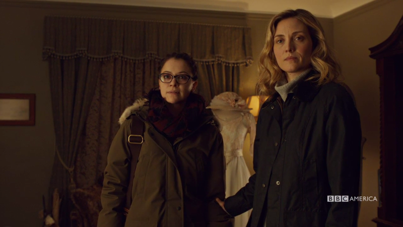 Delphine puts a calming hand on a fired up Cosima's arm