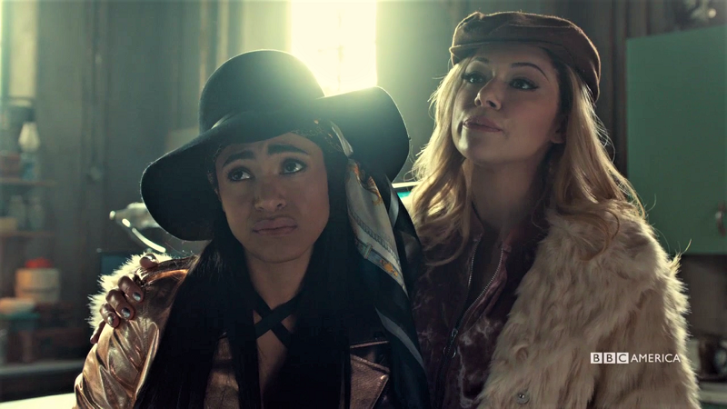 Bree and Krystal tell Art and Scott how it is, wearing hats and their versions of serious expressions