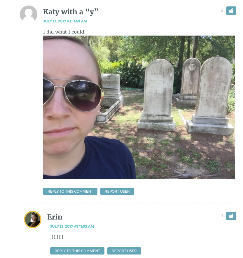 """Shows picture Katy took with the tomb Erin wrote about, then says """"I did what I could"""""""