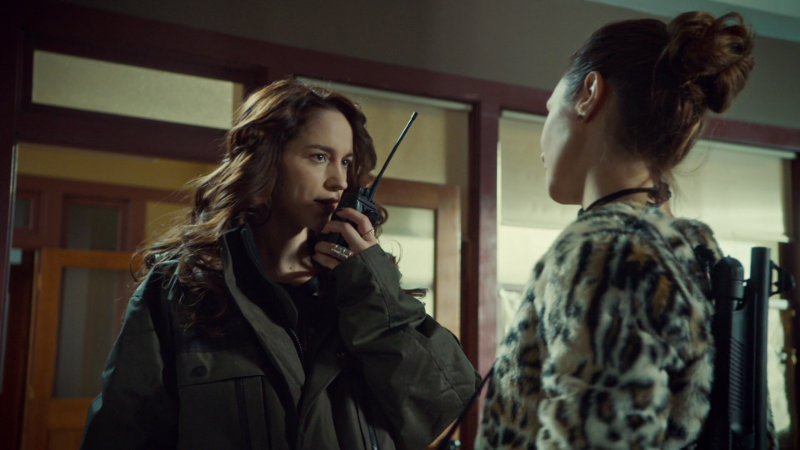 Wynonna talks on the walkie even though Waverly is standing right in front of her