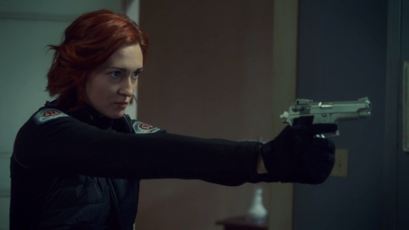 JNicole enters Waverly's room with her gun out, perfect stance