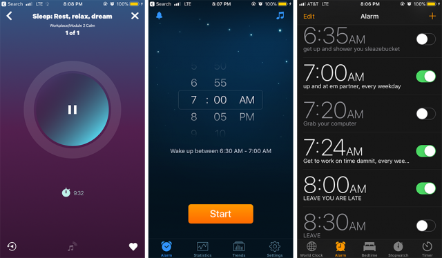 Shown: screenshots from three apps, Smiling Mind, Sleep Cycle, and a sassy onslaught of iOs alarms