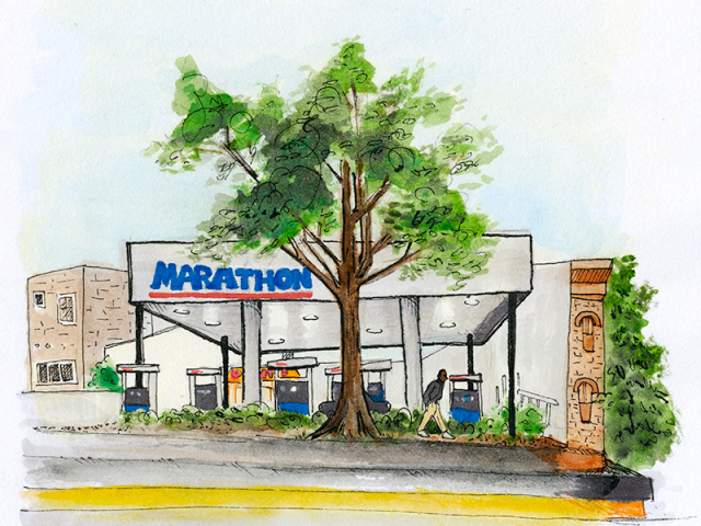 watercolor drawing of a marathon gas station