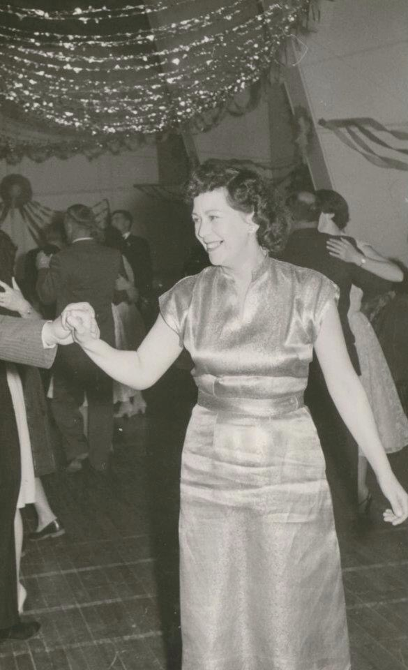 A vintage photo of Nana on the dance floor at a party.