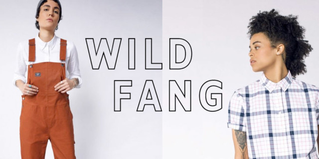 wildfang - two models wearing wildfang overalls and button ups