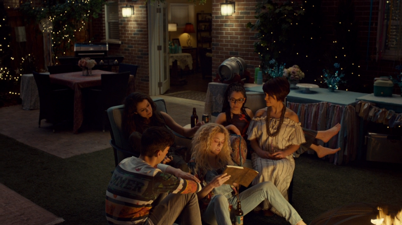 Helena reads her story to Sarah, Cosima, Alison and Felix