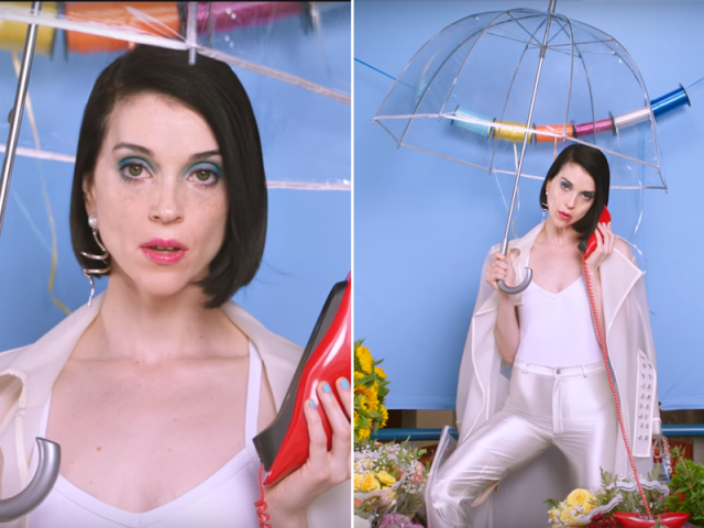 Two shots of St. Vincent in a white tank, transparent rain jacket, and pearlescent disco leggings, holding a transparent umbrella