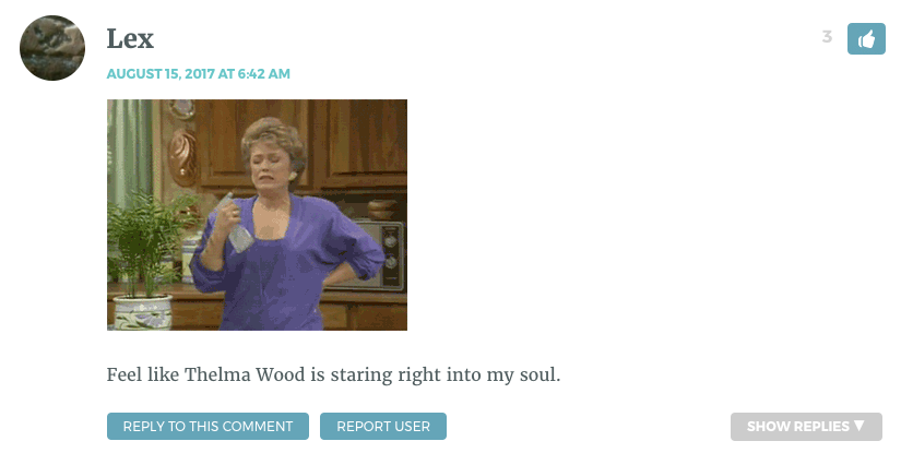 Feel like Thelma Wood is staring right into my soul.
