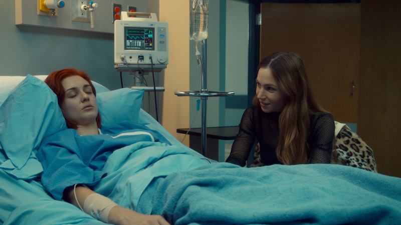 Waverly is by Nicole's bed again