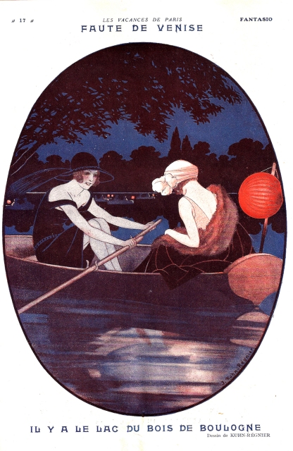 """Two fashionable ladies in a nighttime amorous adventure, with the less rarefied caption: """"If Venice is too far, there's always the lake in the Bois de Boulogne""""."""
