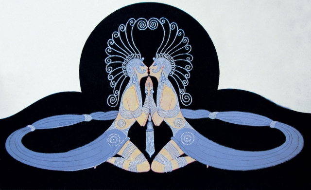 Two identical female figures are kneeling, facing each other and embracing so that they seem to form one body; the flowing fabric sarongs that they wear spread out in a circle around them, the circle of a bracelet imprisoning them in their desire.