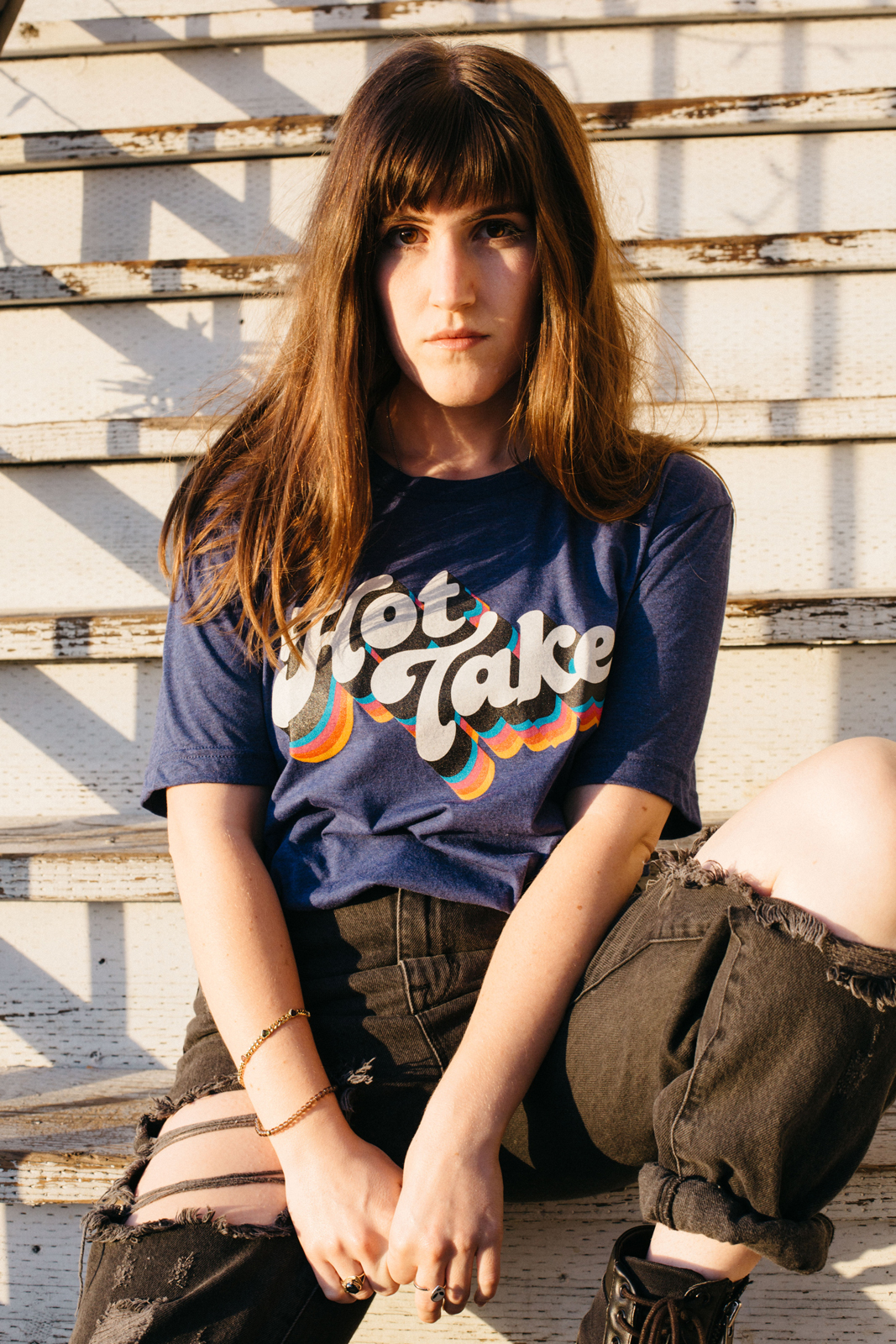 Model wearing Autostraddle Hot Take Tee