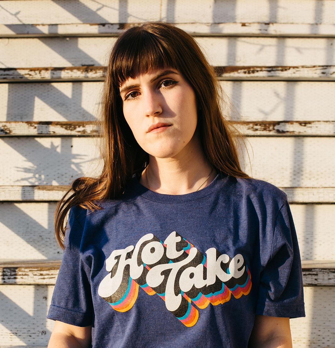 Model wearing Hot Take Tee