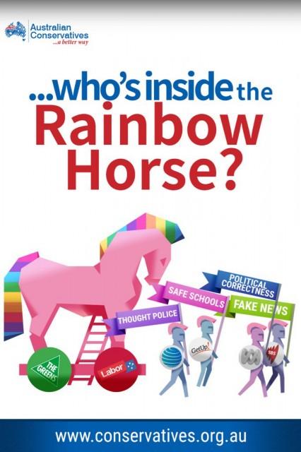 Rainbow colored trojan horse