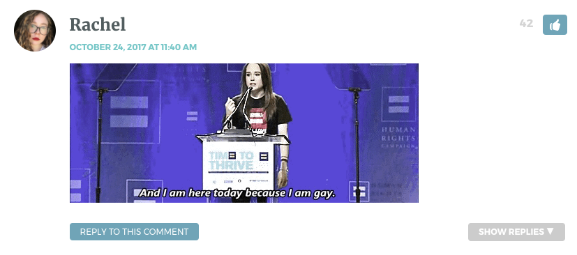 """Gif of Ellen Page's 2014 HRC coming out speech. She is saying """"I am here today because I am gay."""""""
