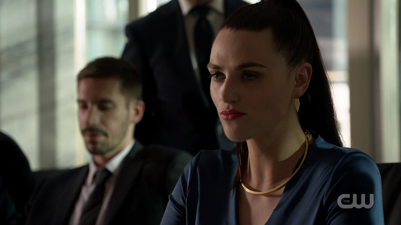 Lena Luthor steels her face as Edge insults her