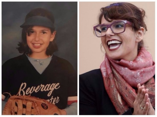 Side by side photos of Iah. On the left she is a young kid wearing a softball uniform (complete with visor). On the right, she's in her twenties, smiling away from the camera while wearing red framed glasses and a pink scarf.