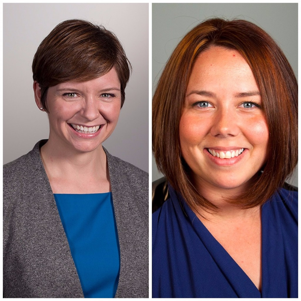 Two professional headshots side by side of Katherine Gallagher Robbins and Laura E. Durso.